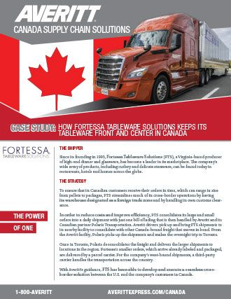 Canada supply chain case study for Fortessa Tableware Solutions, LLC